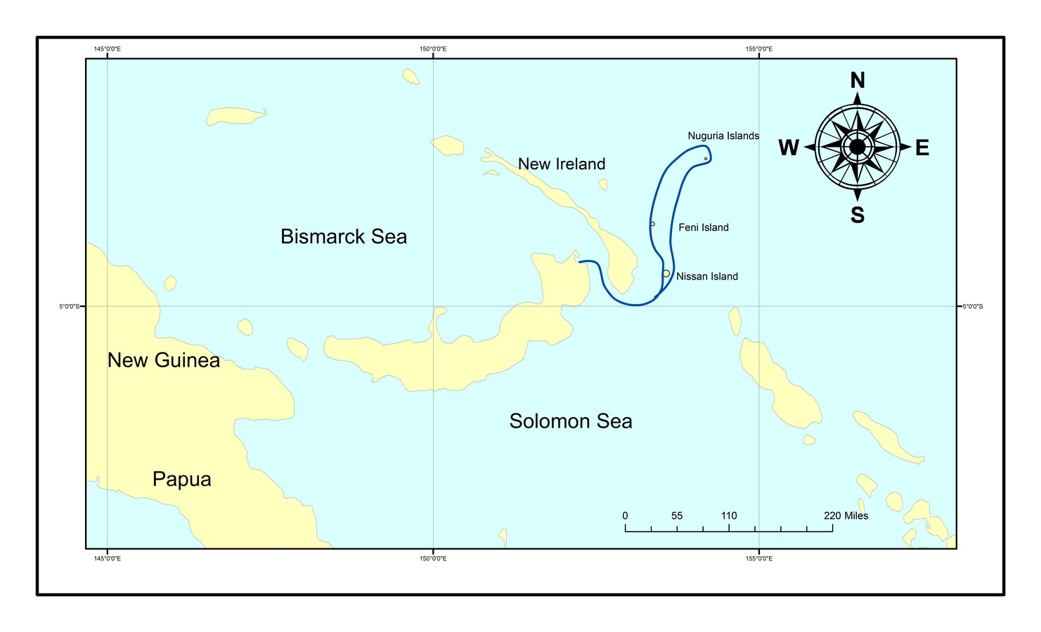 Map for trip: Seabirds and islands of the Bismarck Sea